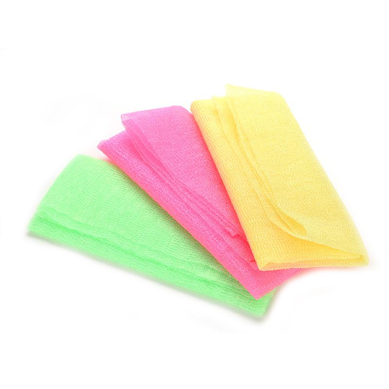 1Pc Hot Nylon Japanese Exfoliating Beauty Skin Bath Shower Wash Cloth Towel Back Scrub Multi Colors 3 Colors