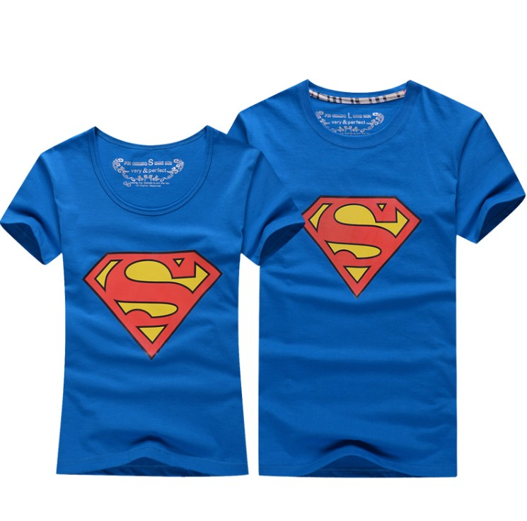 Superman T-Shirt Liebhaberkleidung Damen-Casual O-Neck Kurzarm-T-Shirts für Paare Superman Kurzarm-T-Shirt