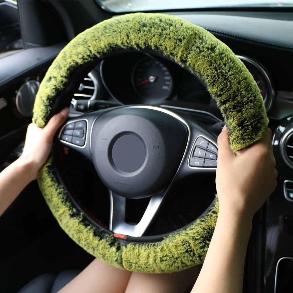 winter australian sheepskin wool steering wheel cover cahsmerewinter super soft plush car steering wheel cover universal,warm faux fur auto handlebar on