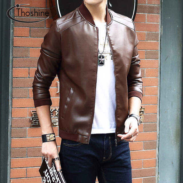 Thoshine Brand Spring Autumn Style Men PU Leather Jackets Stand Collar Pockets Slim Fit Male Faux Leather Outerwear Coats Zipper