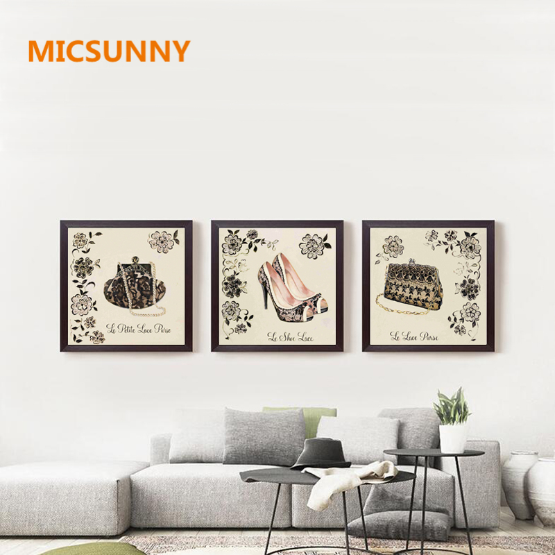 Micsunny flowers background modern art poster women lace shoes bags canvas prints paintings for girl living room home wall decor in painting calligraphy