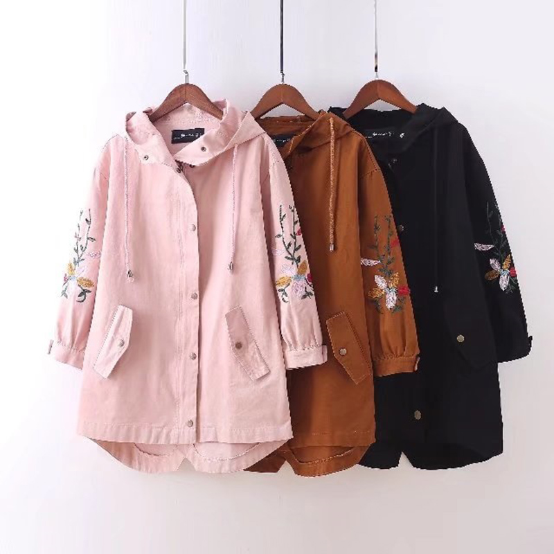 Plus size 4XL Embroidery women hooded   trench   coat high-quality 2018 casual spring ladies oversized outwear   trench   coat female