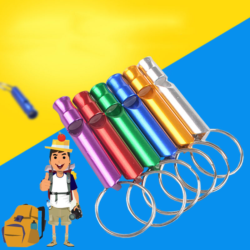 1pc Mini Aluminum Alloy Whistle Keyring Keychain pet dog whistle for training Survival Safety Sport Camping Hunting Random Color