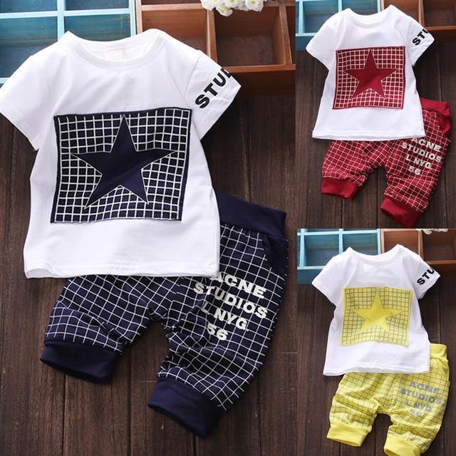 Bebê menino roupas de Marca 2017 crianças roupas de verão define t-shirt + calças conjunto de roupas terno Estrela Impresso Roupas recém-nascidos ternos do esporte