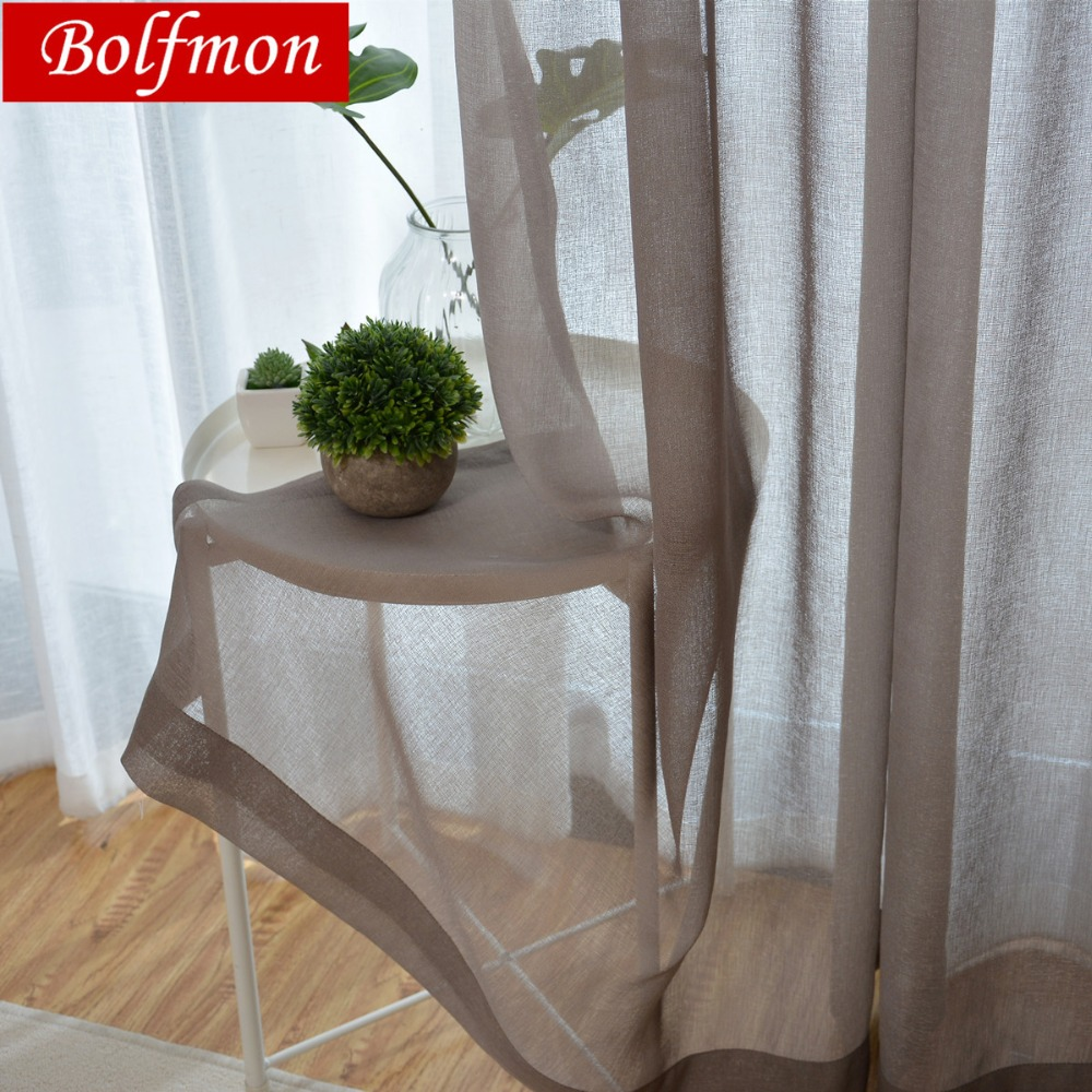 Latest Cheap Eco Linen Soild Light Color Coffee Sheer Window Curtain For Living Room Balcony Chocolate Tulle Cortinas Salon