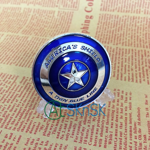 US $6 57 25% OFF|1/5/10pcs For Choice Silver Plated Captain America Shield  Shiny Blue Enamel Souvenir Challenge Coin 50x3mm with Convex Surface-in