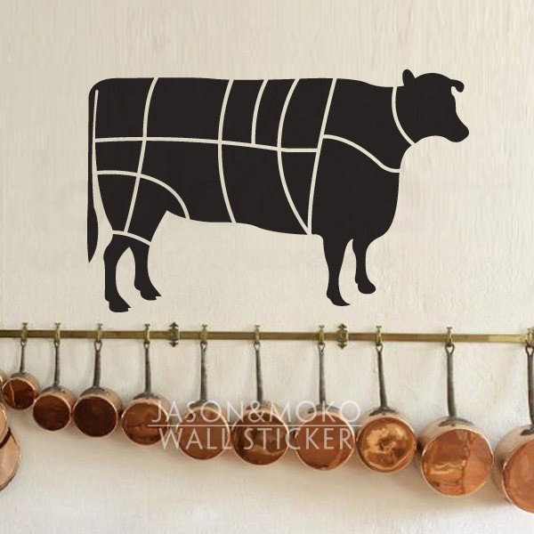 Wall Decal Cattle Beef Butcher Wallpaper Wall Sticker for Kitchen or Dining Room decoration Chalkboard Sticker 45cmX70cm
