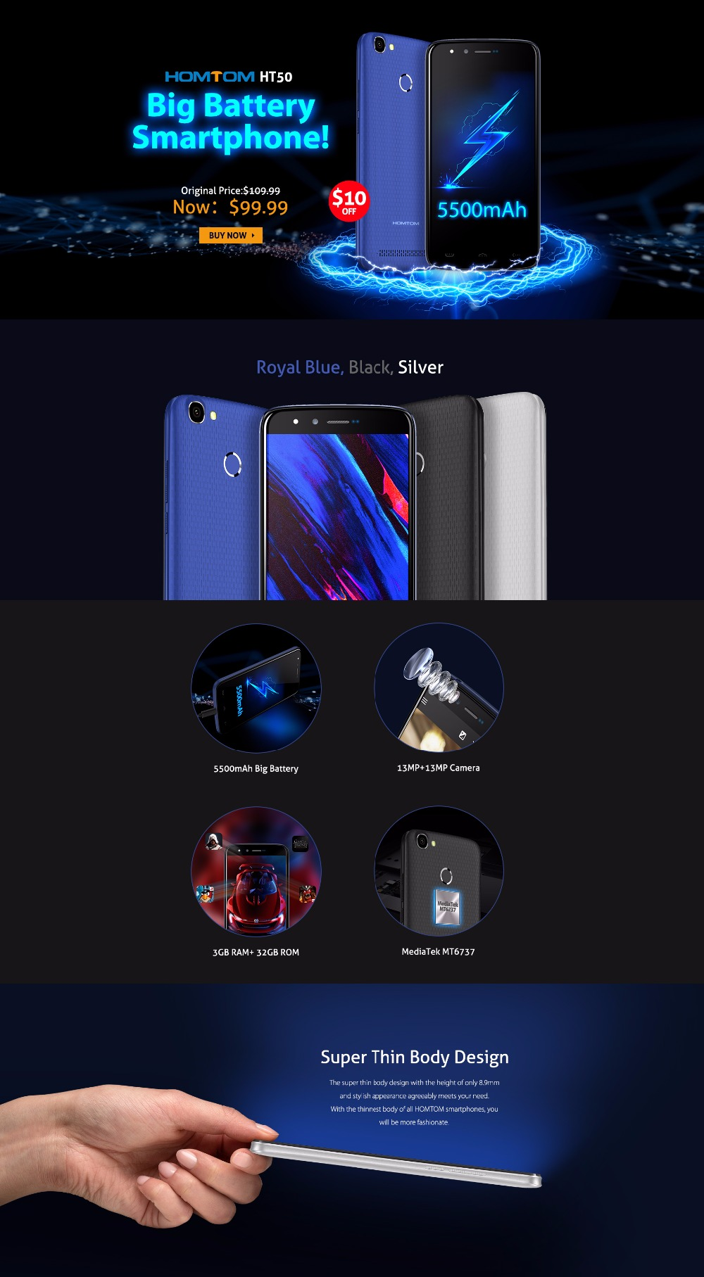 Back To Search Resultscellphones & Telecommunications Homtom Ht50 Smartphone 5500mah Big Battery Mtk6737 Quad Core Android 7.0 3gb Ram 32gb Rom Fingerprint 5.5 Inch 4g Otg Cellphone