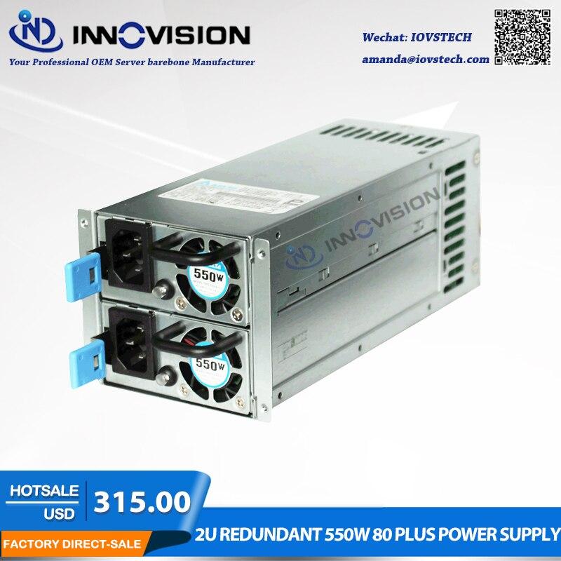 Haute-efficacité d'énergie économisée 2U redondant 550 w 80 plus alimentation for2U/3U Serveur châssis