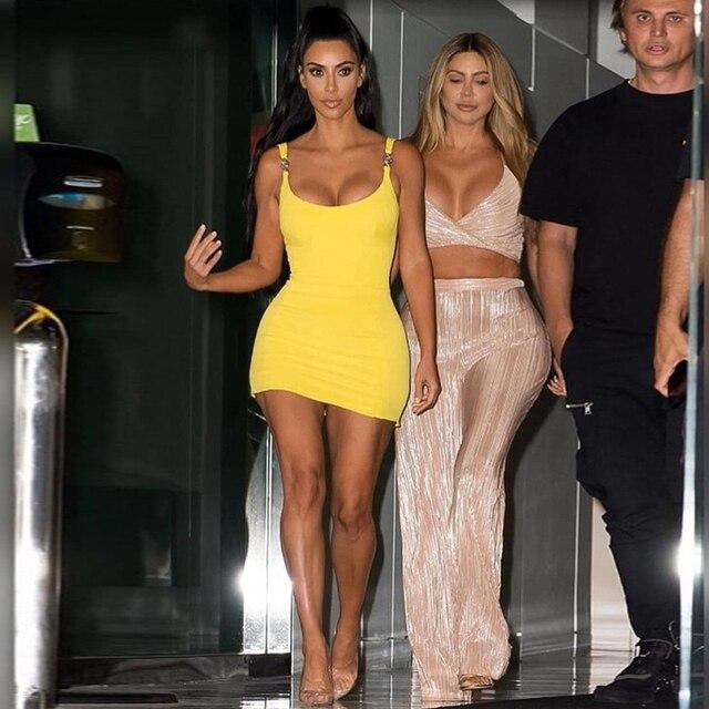 Kim Kardashian Outfit Sexy Tight Sling Strapless Dress 4