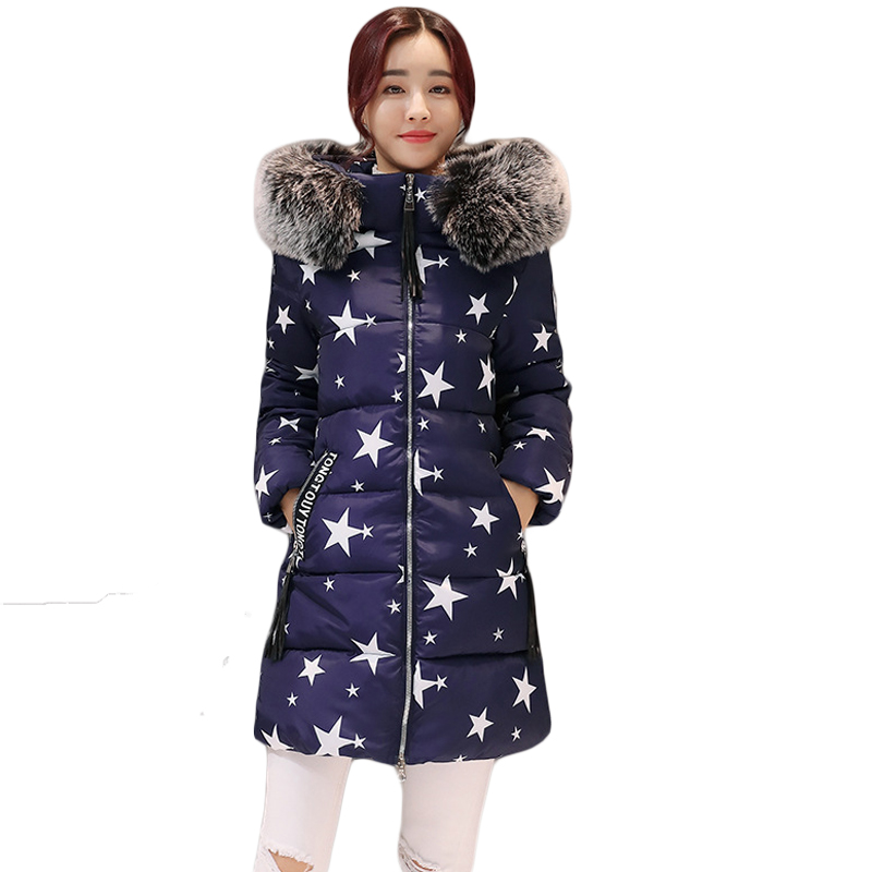 2017 New Fashion Winter Jacket Women Large Fur Hooded Parkas Female Medium-long Slim Star Print Thick Warm Outfit Coats CM1606 2017 new famale down cotton coats women winter warm large fur hooded parkas girls medium long thick slim winter jackets cm1704