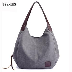Image 1 - Canvas Bag Women Shoulder Bag Luxury Handbags Ladies Hand Bags Casual Tote Bags For Women 2020 Bolsa Feminina  Sac A Main Femme