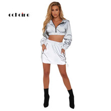 Echoine Women 2 Piece Set Sexy Reflective Light Crop Tops Hooded Long Sleeved Gray Mini Skirts Sports Suits Pullover Windbreaker