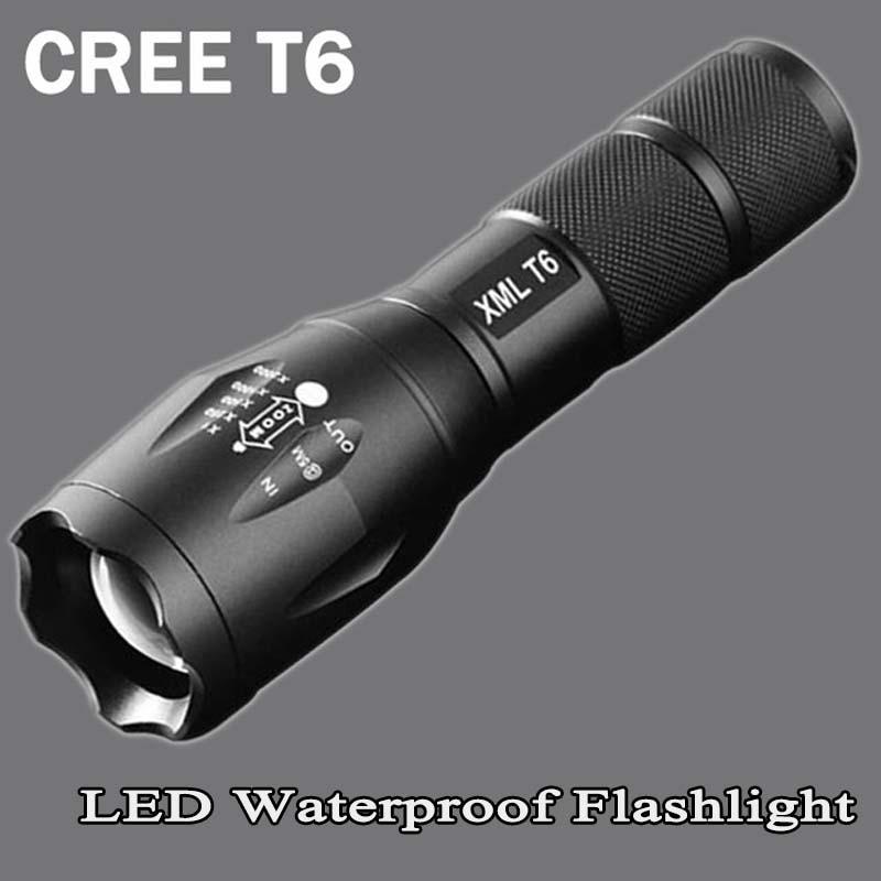 Xm-t6 LED lampe de Poche 8200 lumen zoomable led torche pour 18650/AAA noir Étanche linterna led lampes de poche pour Camping ZK95
