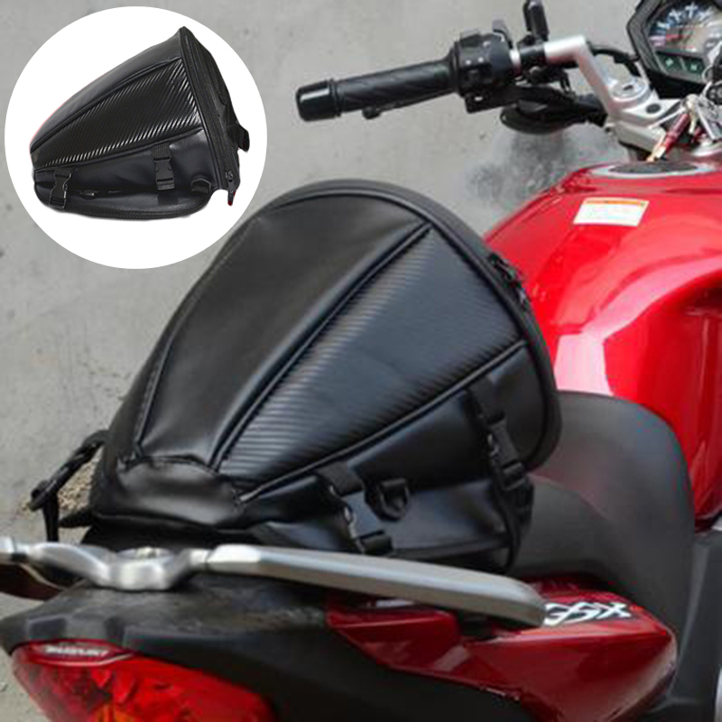 Leather Black Motorcycle Rear Saddlebag Tail Back Seat Storage Carry Hand Shoulder Waterproof Motorcycle Saddle Bag 28*28*25cm