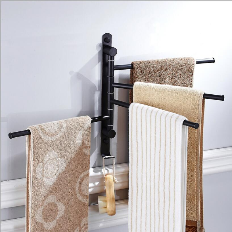 2-4 Foldable Swivel Towel Bars Copper Wall Mounted Bathroom Towel Rail Rack Bathroom Towel Holder Black/Chrome Towel Hanger new and brief 4 swivel towel bars copper wall mounted black bathroom towel rail rack bathroom towel holder folding towel hanger