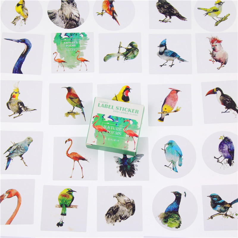 40 Pcs/box Nature Poetry Mini Paper Sticker Decoration Decal Diy Album Scrapbooking Seal Sticker Kawaii Stationery Gift 45 pcs box classical chinese style stickers diy album adhesive paper scrapbook notebook decoration sticker stationery kids gifts