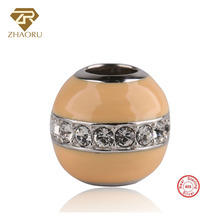Zhaoru Authentic 925 Sterling Silver Enamal Pendant Charm Fit Bracelet & Bangle Necklace  Fine Jewelry Hollow-out Bead
