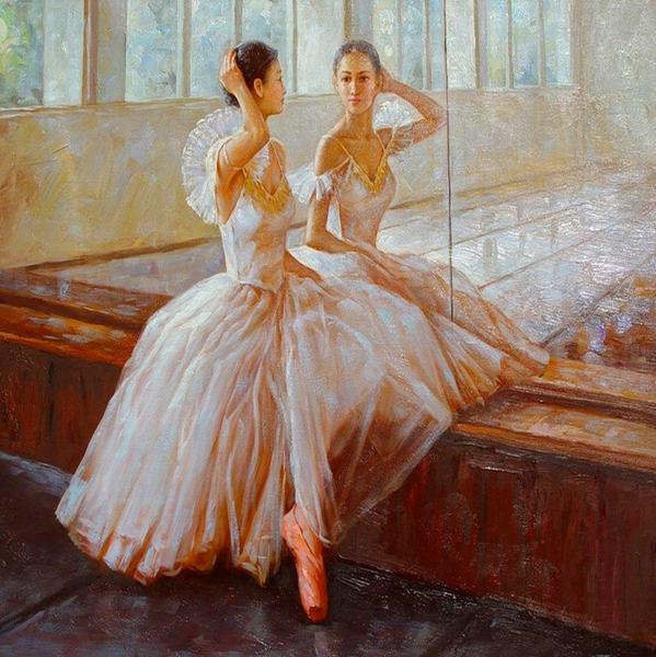 Pas de cadre art toile un ballet danseur est regarder dans for Regard dans le miroir