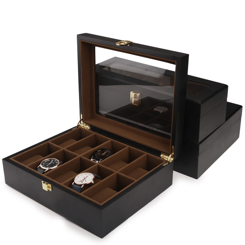 Top qualité 6/10/12 grilles montre stockage montre organisateur vitrine boîte en cuir luxe montre boîte pour titulaire Valentine cadeau