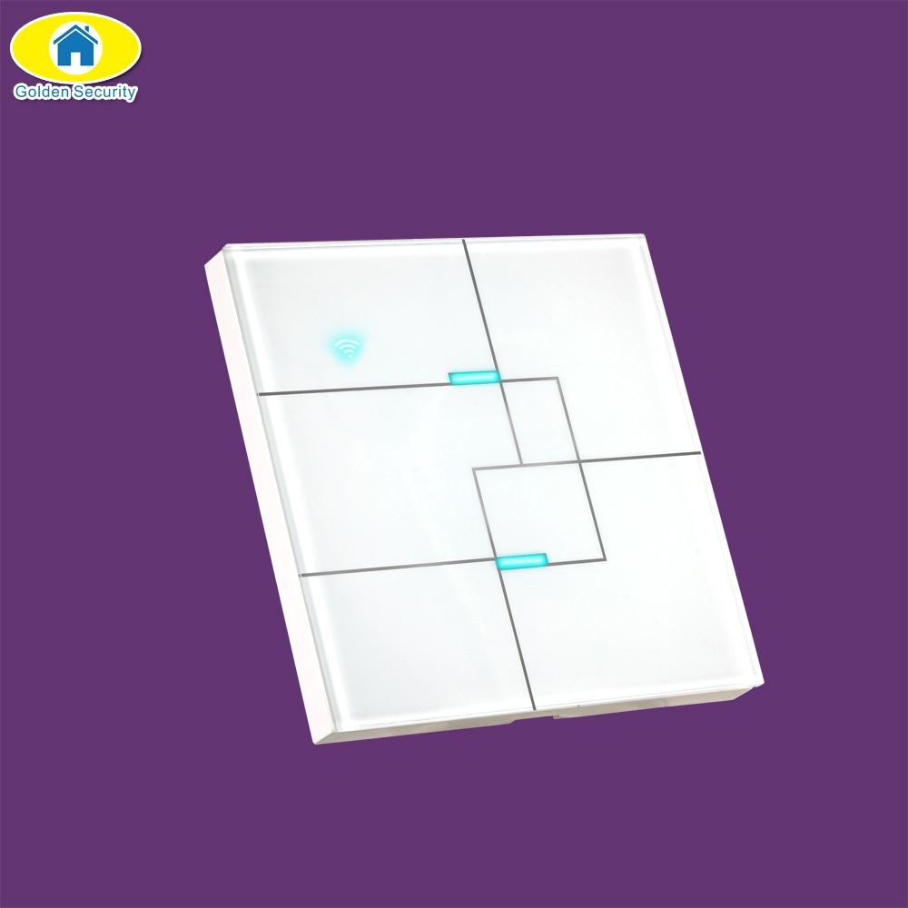 2 Gang 2 Way EU Standard Touch Switch,Wall Light Touch Screen Switch,APP Control Wall Touch Switch,Work With Alexa,AC100~240V