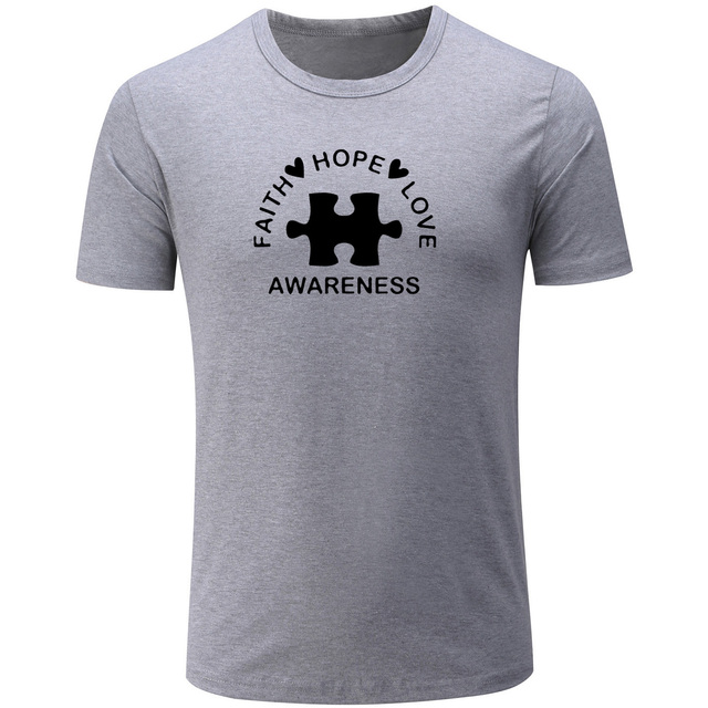 4dce5c531ee Faith Hope Love Awareness Men s Women s T-shirt Summer Short Sleeve Couple  T Shirts Fitness Cotton Lovers Tees Gift Clothing