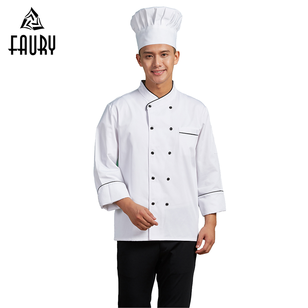 2018 New Arrival Men Long Sleeve Double Breasted Chef Jacket Uniform Kitchen Working Tops Restaurant Hotel Cafe Waiter Overalls