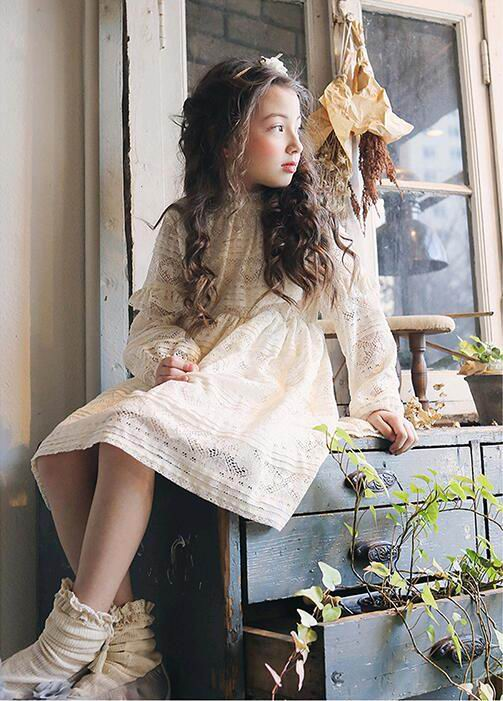 2017 Spring New Girl Dresses Korea Style High Quality Lace Loose Long Sleeve Princess Dress Children Clothing 3-8Y 17001 high quality girls baby bright leaf long sleeve lace dress princess bud silk dresses children s clothing wholesale