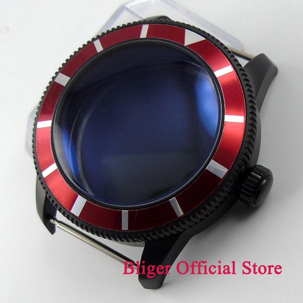 46mm 레드 베젤 시계 케이스 블랙 pvd 코팅 316l 스테인레스 스틸 케이스 2836 무브먼트 시계-에서시계 숫자판부터 시계 의  그룹 1