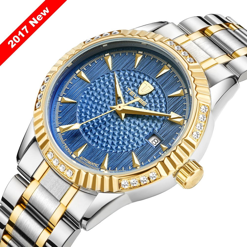 Tevise Brand Men Mechanical Watch Fashion Luxury Stainless Steel Automatic Watches Role Gold Colck Relogio Masculino 2017New tevise men black stainless steel automatic mechanical watch luminous analog mens skeleton watches top brand luxury 9008g