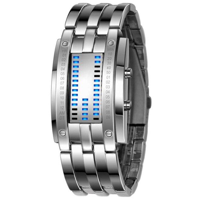 NEUE Luxus Zukunft Technologie Binäre Uhr männer und frauen Schwarz Silber Edelstahl Datum Digitale LED Armband Sport uhr