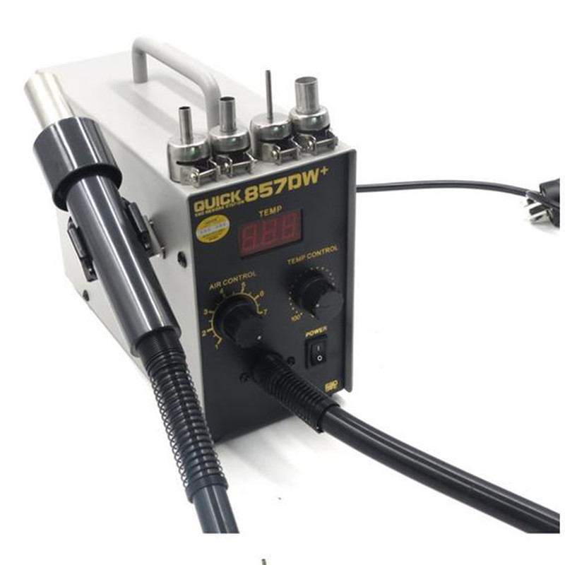 QUICK 857DW Lead Free Adjustable Hot Air Heat Gun With Helical Wind 580W SMD Rework Station