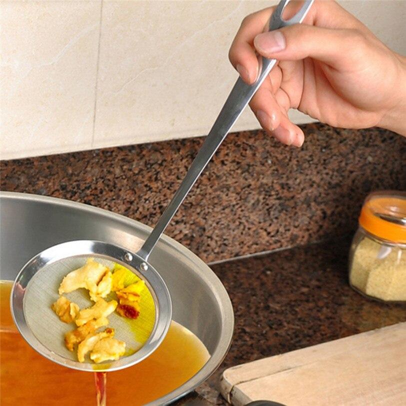 Круглый сетчатый фильтр из нержавеющей стали, половник-дуршлаг, сетчатый масляный фильтр, кулинарный фильтр, ложка, кухонный фильтр 9J10