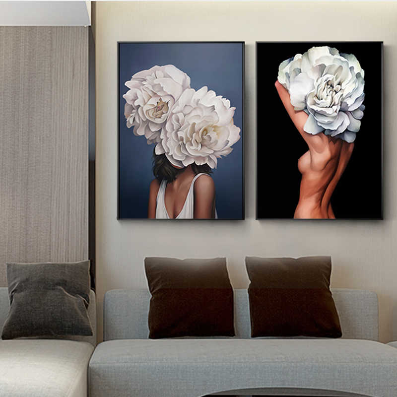 Nordic Beauty Flower Girl Oil Painting Print on Canvas Modern Poster and Print for Living Room Bedroom Home Decor Wall Art