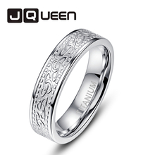 JQUEEN 6MM Knot Pattern 316L Titanium Steel Ring Men's Best Gift Vintage Sliver Color Stainless Steel Ring Wedding Bands Jewelry