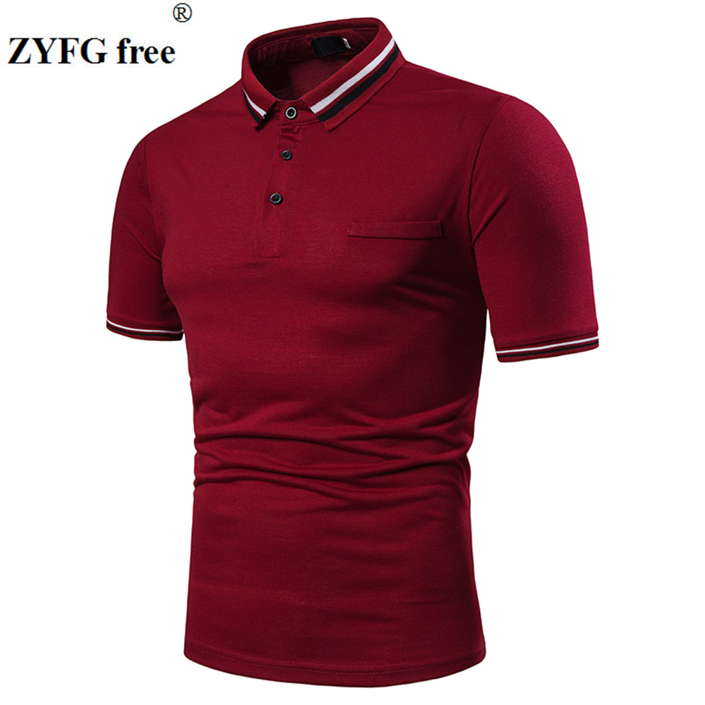 New male   polo   shirt striped short-sleeved turn-down collar simple   polo   shirts youth fashion male clothing