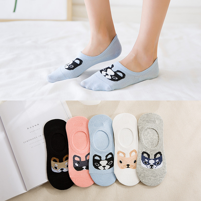 Spring Summer Cotton Comfortable Cartoon Animal Dog Invisible Ankle Boat Socks Puppy Woman Girl Boy Hosier 1pair=2pcs Ws103