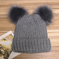 Winter Women Hat Wool Knitted Beanies Cap Natural Crochet Two Fox Fur Pompom Hats Solid Color Ski Gorros Cap Causal Hat Female