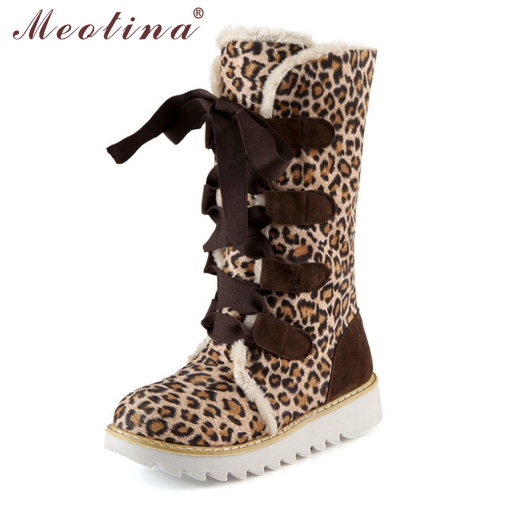 Meotina Large Size 9 10 Winter Women Snow Boots Flock Mid Calf ...
