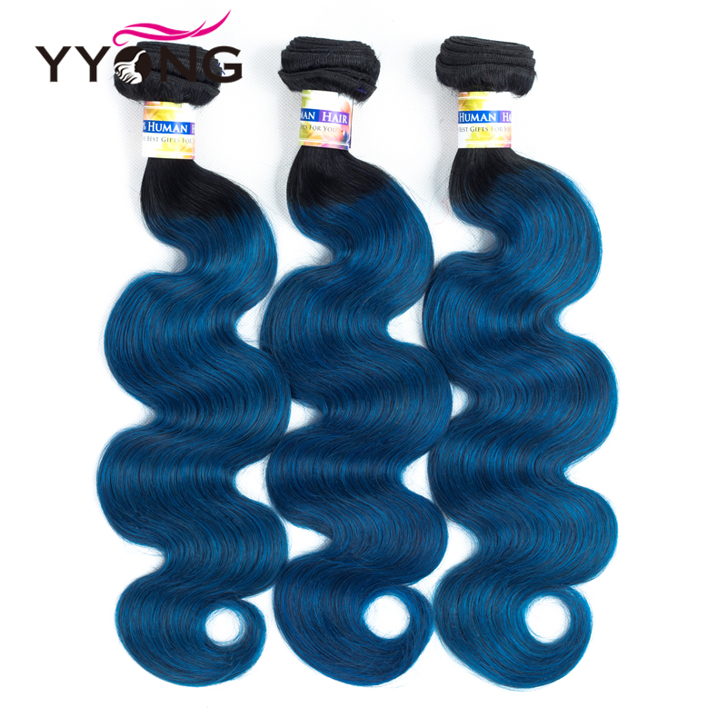 Yyong Brazilian Ombre Human Hair Blue Pre-Colored Body Wave 3 PCS Lot Dark Roots Non-Remy Hair Extensions 12-24Inch