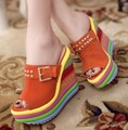 The trend of the sweet genuine leather sandals slippers ultra high heels platform wedges sandals  platform slippers women