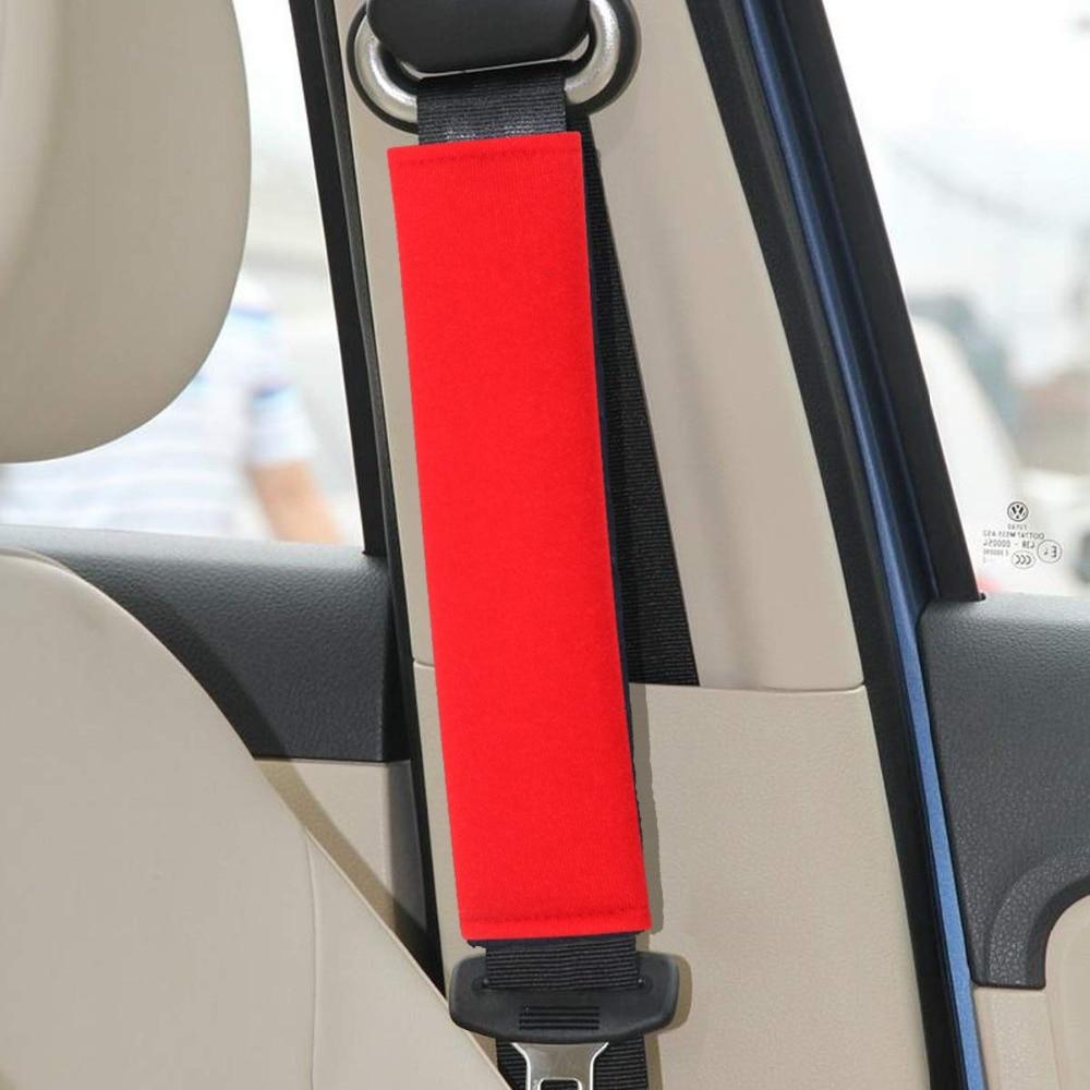 Red Alusbell Seatbelt Adjuster Car Auto Shoulder Neck Strap Positioner Locking Clip Bling Crystal Luxury