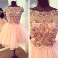 Bling Soft Pink Ball Gown Boat Neck Diamond Lace Short Party Cocktail Dresses 2016 Party Prom Gown Homecoming Graduation VC15
