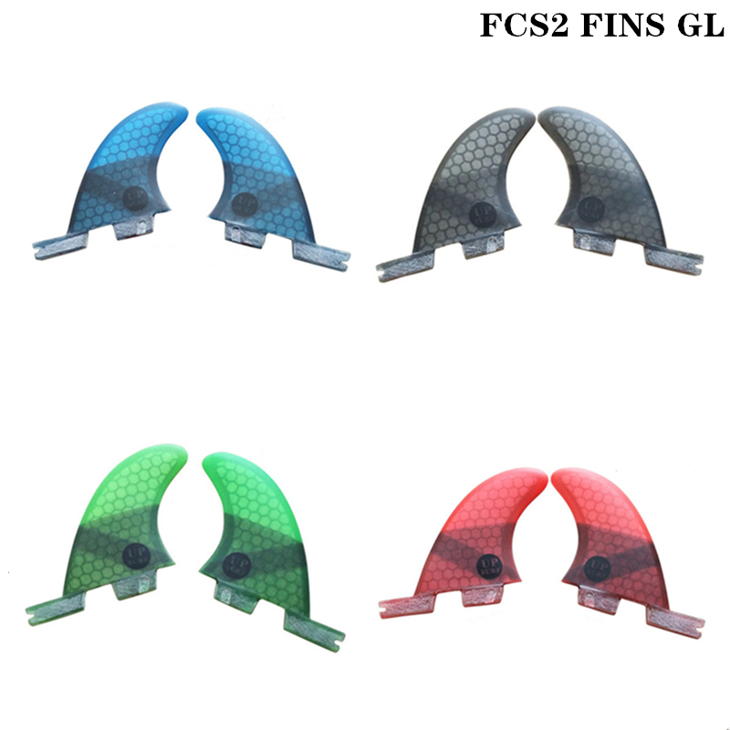 Surfboard FCS2 GL fins Blue/Red/Black/Green color Surfing Honeycomb Fibreglass fin Twin fin set Surf Fins