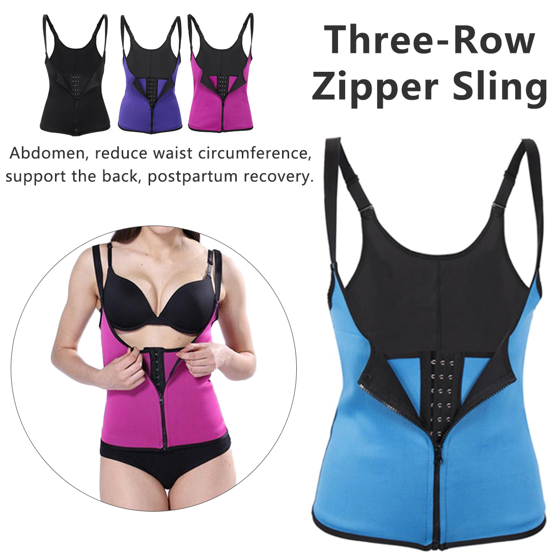Shoulder Strap Waist Trainer Slimming Belt Vest Corset Women Zipper Hook Body Shaper Waist Slimming  Women's Tight Corset