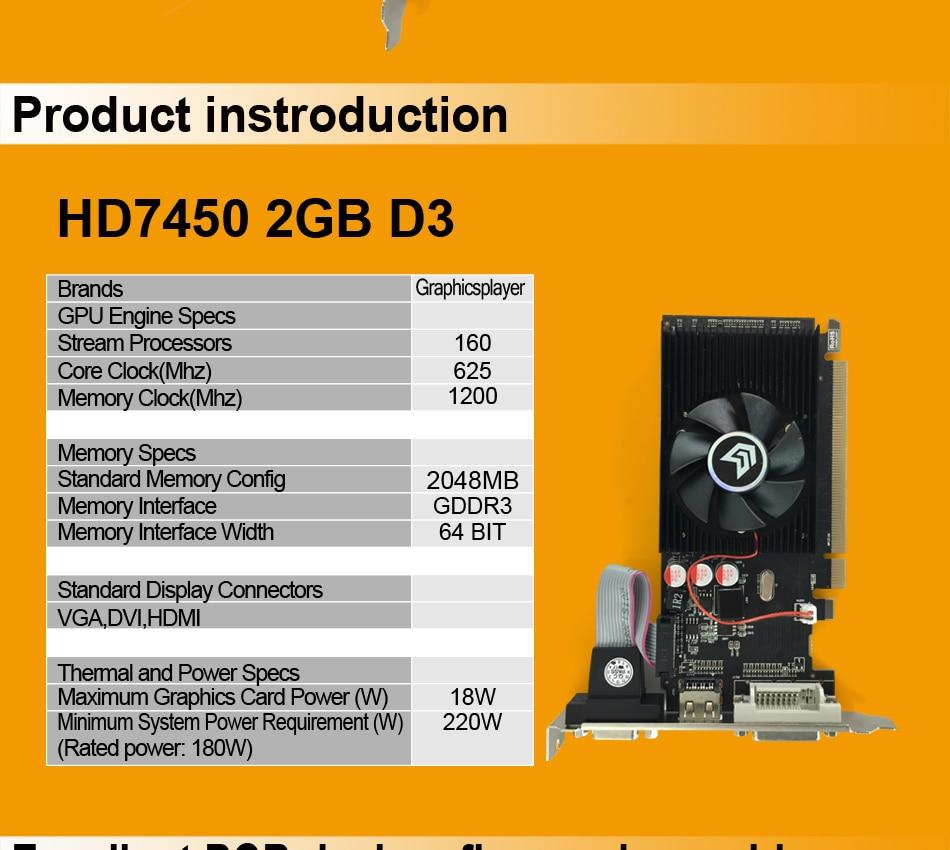 Original Graphics Card HD7450 With 2GB DDR3 64bit for ATI Radeon 4