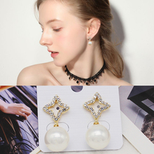 Classic Fashion Girls Pearl Earring Trendy Elegant Long Round Star  Stud Earrings For Women Vintage Fine Jewelry For Gifts lyiyunq office style jewelry trendy round pearl stud earrings for women classic water drop rhinestone earring for gifts