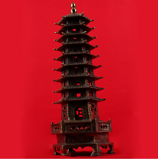 B0601 418Bronze Sculpture, Copper Wenchang Tower Crafts Decoration Bronze Sculpture, Decoration  Statue