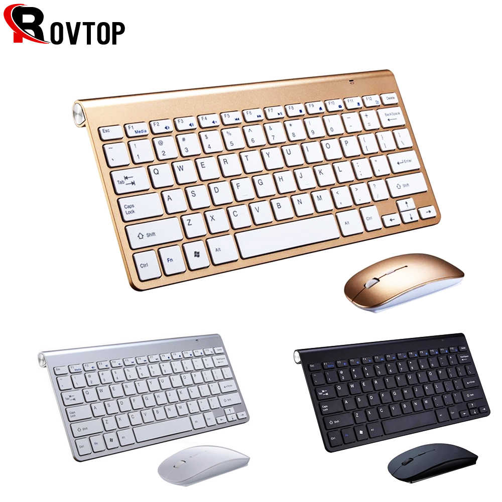 2.4G Keyboard Mouse Combo Set Multimedia Keyboard Nirkabel dan Mouse untuk Notebook Laptop Mac Desktop PC TV Alat Kantor