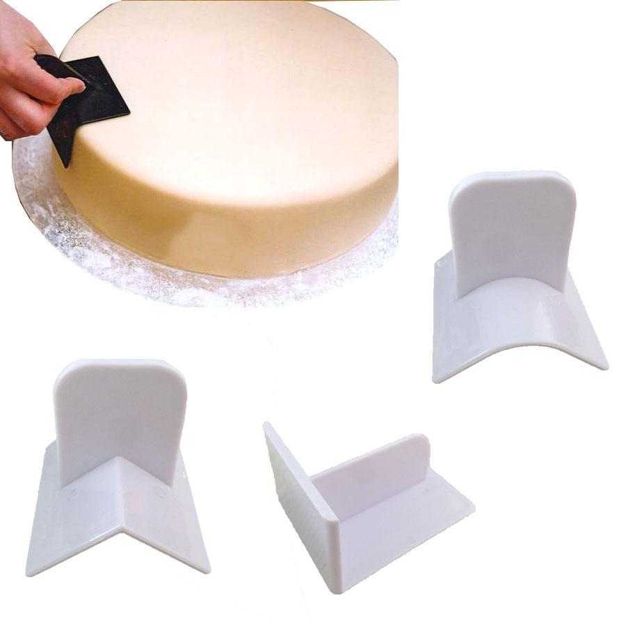 gâteau lisseur polisseur 3pcs coin dispositif de lissage rectangulaire filet angle bord rectangulaire en plastique Fondant Cake Smoother